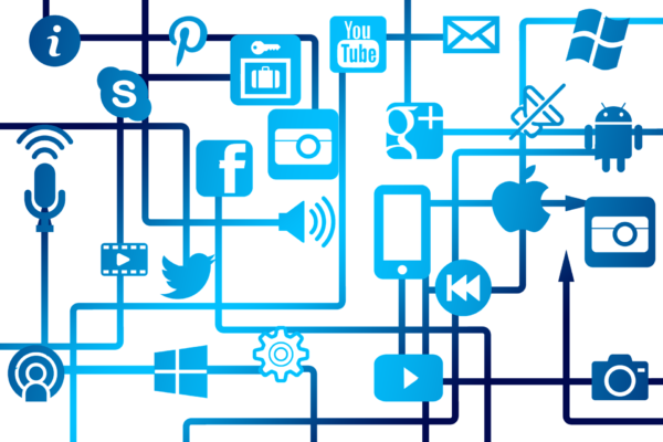 Picture showing a network of PR and marketing icons
