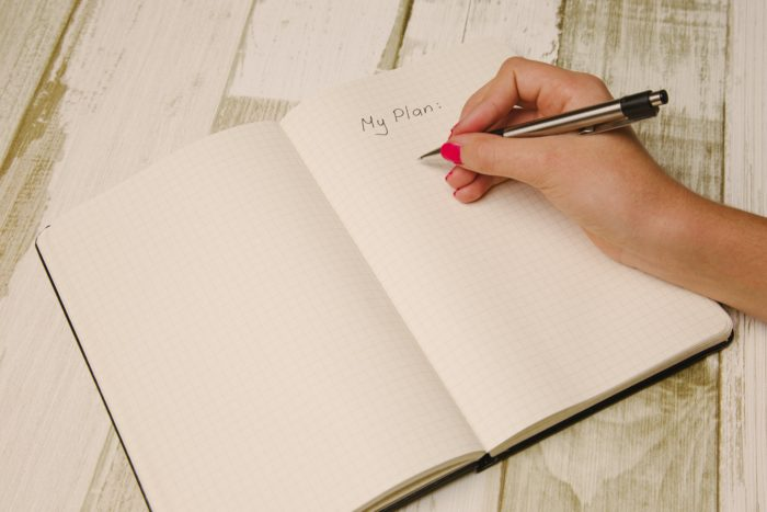 Picture showing a piece of paper with 'My Plan' written on it.