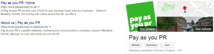 A picture showing Pay as you PR's Google My Business listing